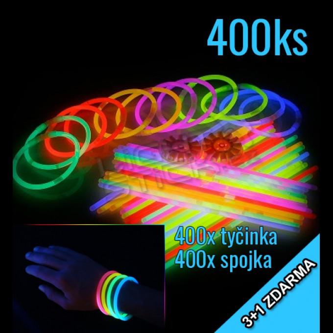 Svítící náramky 3+1 zdarma, 400ks, mix barev