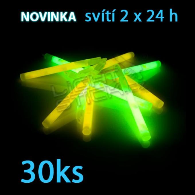 Svítící tyčinka POWDER (chemické světlo) Lightstick 15 cm, 30ks / obal, 2 ampule, 2 x 24 hodin,
