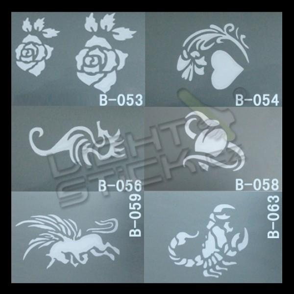 Šablony na tetování 7,5x10, výběr šablon