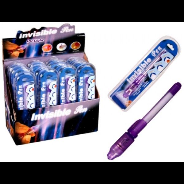 UV pero s neviditelným inkoustem a UV světlem