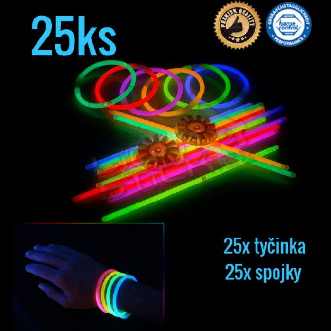 Svítící náramky 25ks, mix barev