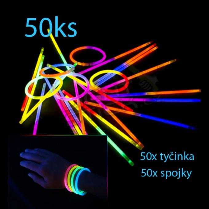 Svítící náramky 50ks, dvoubarevné