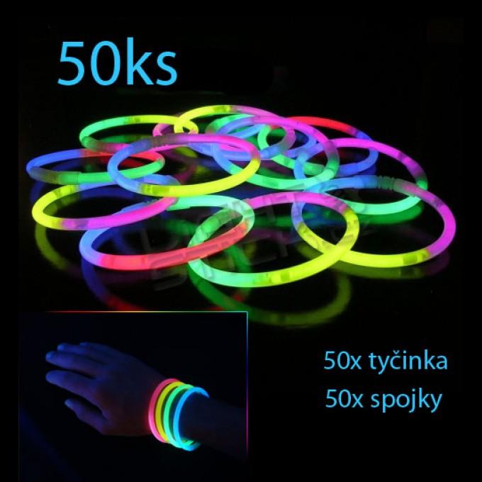 Svítící náramky 50ks, tříbarevné
