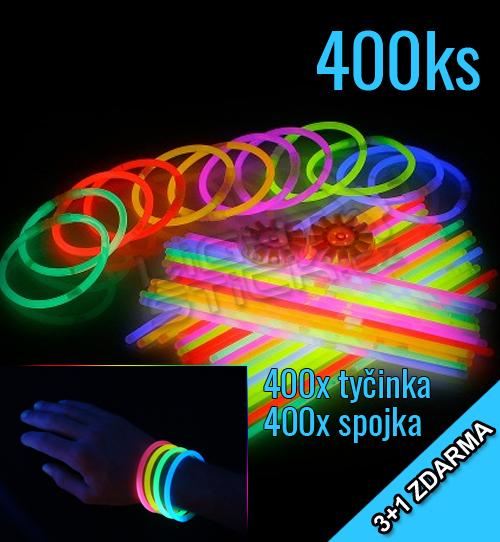 Svítící náramky 3+1 zdarma, 400ks, mix barev - Mix barev