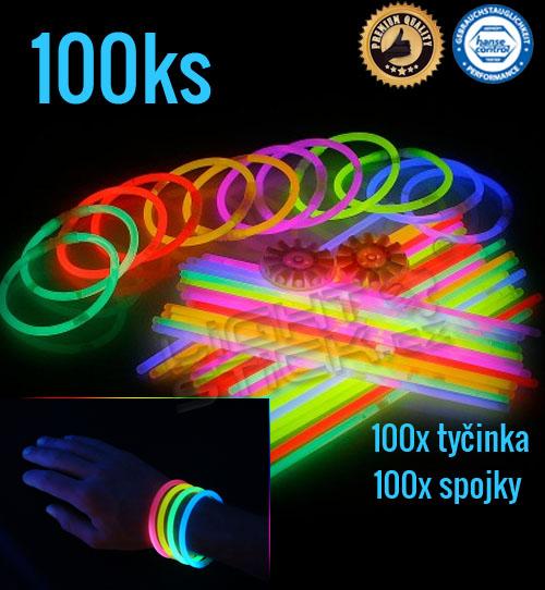 Svítící náramky 100ks, výběr barev - Zelená